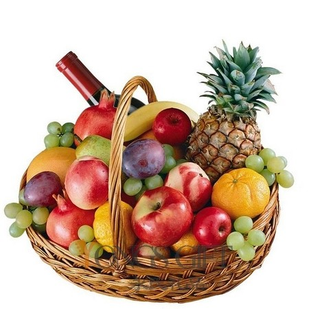 Red Wine and Fresh Fruit Basket