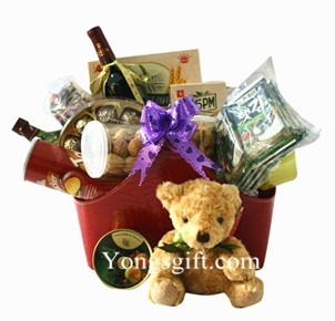 Wine Duo Hamper with Teddy to Taiwan-Chinese New Year Hamper