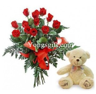 One Dozen Red Rose And Teddy Bear To Japan