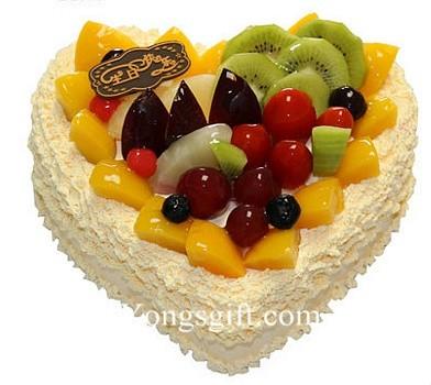 Happy Birthday Heart-Shape Fruit Cake 8 inch Deluxe