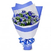 Extraordinary 18 Blue Rose Bouquet