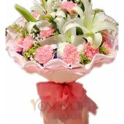 Pink Carnation and Lilies