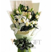 Champagne Rose and White Lily Elegance