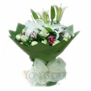 Mixed Lily and White Rose Sympathy