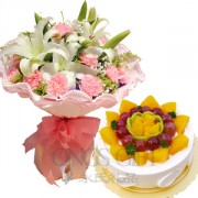 Flower Bouquet with Yummy Cake