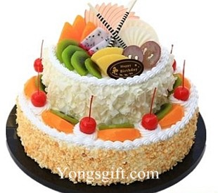 Two Layer Happy Birthday Cake To China