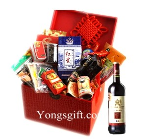Holiday Wishes Chinese New Year Gift Hamper with Red Wine