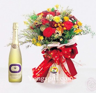 Sparkling Wine and Flower to Japan