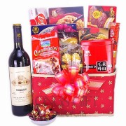 Holiday Golden and Red Wine Gift