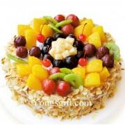 Cream, Fruits and Nuts Cake 8 Inch Premium to China