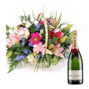 Flower Basket And Moet Champagne To Japan