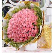 Exquisite 100 Pink Rose Bouquet