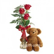 3 Red Roses with Teddy to Japan