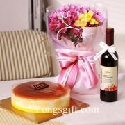 Flower, Cake and Wine Combo to Korea