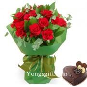 Red Rose Chocolate Cake Combo To South Korea