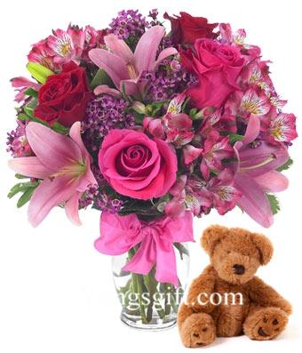 Teddy Pink-Send Flower to Japan